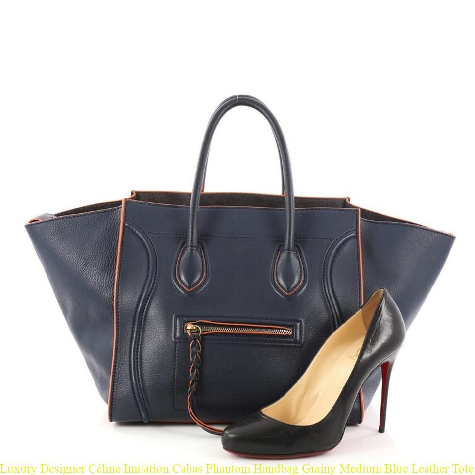 Luxury Designer Céline Imitation Cabas Phantom Handbag Grainy Medium Blue Leather Tote Celine Replica Bag Price