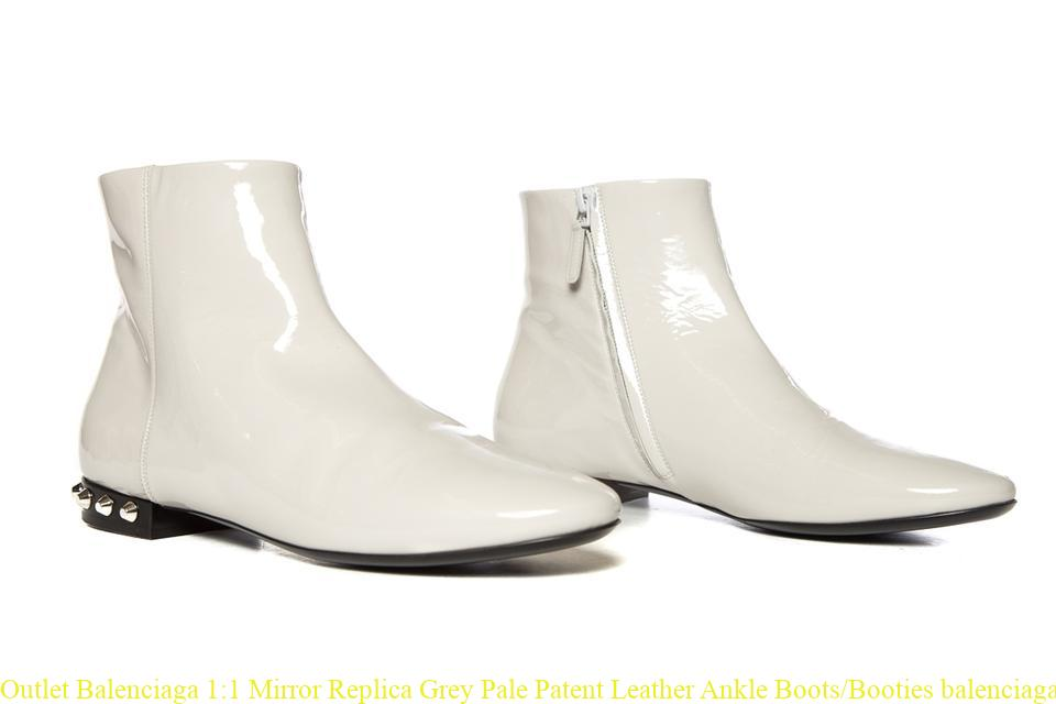 3badf9f073 Outlet Balenciaga 1:1 Mirror Replica Grey Pale Patent Leather Ankle  Boots/Booties balenciaga shoes